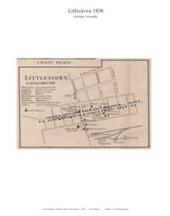 Littlestown - Germany Township, Pennsylvania 1858 Old Town Map Custom Print - Adams Co.