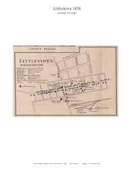 Littlestown - Germany Township, Pennsylvania 1858 Old Town Map Custom Print - Adams Co.