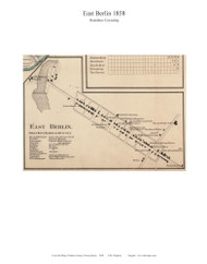East Berlin - Hamilton Township, Pennsylvania 1858 Old Town Map Custom Print - Adams Co.