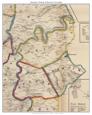 Hamilton Township, Oxford Township, and Berwick Township, Pennsylvania 1858 Old Town Map Custom Print - Adams Co.
