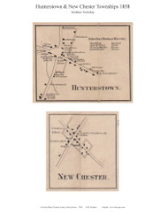 Hunterstown & New Chester - Strabane Township, Pennsylvania 1858 Old Town Map Custom Print - Adams Co.
