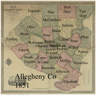 Towns on Source Map - Allegheny Co., Pennsylvania 1851 - NOT FOR SALE - Allegheny Co.