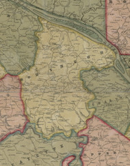 Robinson Township, Pennsylvania 1851 Old Town Map Custom Print - Allegheny Co.
