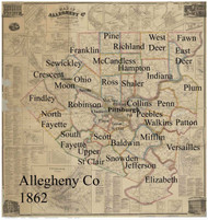 Towns on Source Map - Allegheny Co., Pennsylvania 1862 - NOT FOR SALE - Allegheny Co.