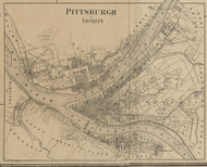 Pittsburgh City - Pittsburgh Township, Pennsylvania 1862 Old Town Map Custom Print - Allegheny Co.