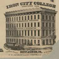 Iron City College - Allegheny Co., Pennsylvania 1862 Old Town Map Custom Print - Allegheny Co.