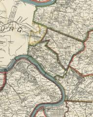 Bradock Township, Pennsylvania 1898 Old Town Map Custom Print - Allegheny Co.