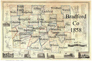 Towns on Source Map - Bradford Co., Pennsylvania 1858 - NOT FOR SALE - Bradford Co.