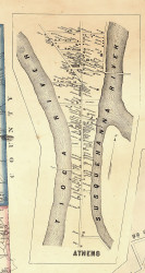 Athens Village - Bradford Co., Pennsylvania 1858 Old Town Map Custom Print - Bradford Co.