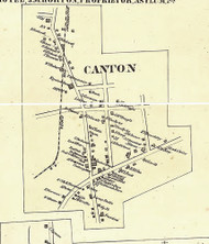 Canton Village - Bradford Co., Pennsylvania 1858 Old Town Map Custom Print - Bradford Co.