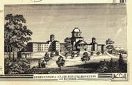 Pennsylvania State Lunatic Hospital - Harrisburg, Pennsylvania 1858 Old Town Map Custom Print - Bradford Co.