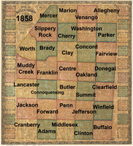 Towns on Source Map - Butler Co., Pennsylvania 1858 - NOT FOR SALE - Butler Co.