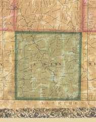 Adams Township, Pennsylvania 1858 Old Town Map Custom Print - Butler Co.