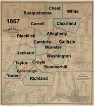Towns on Source Map - Cambria Co., Pennsylvania 1867 - NOT FOR SALE - Cambria Co.
