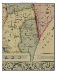 London Britain Township, Pennsylvania 1856 Old Town Map Custom Print - Chester Co.