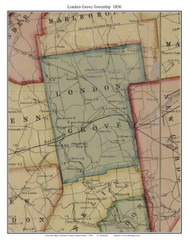 London Grove Township, Pennsylvania 1856 Old Town Map Custom Print - Chester Co.