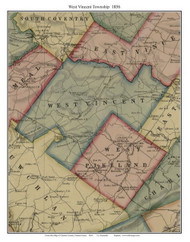 West Vincent Township, Pennsylvania 1856 Old Town Map Custom Print - Chester Co.