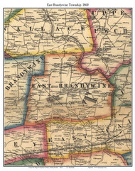 East Branywine Township, Pennsylvania 1860 Old Town Map Custom Print - Chester Co.