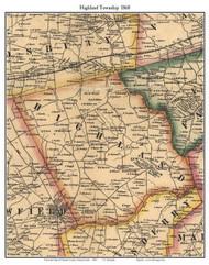 Highland Township, Pennsylvania 1860 Old Town Map Custom Print - Chester Co.