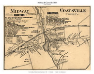 Midway and Coatsville Villages - Valley Township, Pennsylvania 1860 Old Town Map Custom Print - Chester Co.