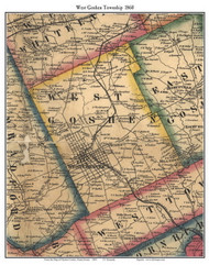 West Goshen Township, Pennsylvania 1860 Old Town Map Custom Print - Chester Co.