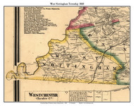 West Nottingham Township, Pennsylvania 1860 Old Town Map Custom Print - Chester Co.