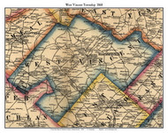 West Vincent Township, Pennsylvania 1860 Old Town Map Custom Print - Chester Co.