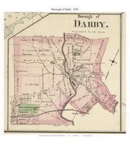 Borough of Darby , Pennsylvania 1876 Old Town Map Custom Print - Delaware Co.