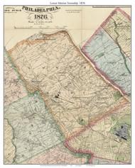 Lower Merion Township, Pennsylvania 1876 Old Town Map Custom Print - Delaware Co.