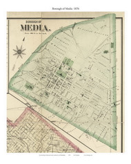 Borough of Media , Pennsylvania 1876 Old Town Map Custom Print - Delaware Co.