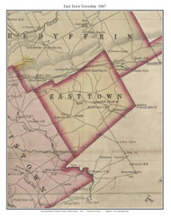 East Town Township, Pennsylvania 1847 Old Town Map Custom Print - Chester Co.