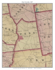 Penn Township, Pennsylvania 1847 Old Town Map Custom Print - Chester Co.