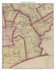 Pennsbury Township, Pennsylvania 1847 Old Town Map Custom Print - Chester Co.