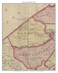 Warwick Township, Pennsylvania 1847 Old Town Map Custom Print - Chester Co.