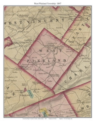 West Pikeland Township, Pennsylvania 1847 Old Town Map Custom Print - Chester Co.