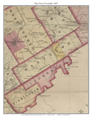 West Town Township, Pennsylvania 1847 Old Town Map Custom Print - Chester Co.