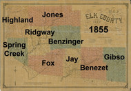 Towns on Source Map - Elk Co., Pennsylvania 1855 - NOT FOR SALE - Elk Co.