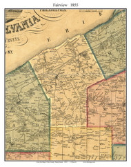 Fairview Township, Pennsylvania 1855 Old Town Map Custom Print - Erie Co.