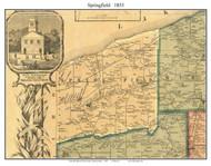 Springfield Township, Pennsylvania 1855 Old Town Map Custom Print - Erie Co.