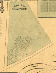 Northeast Cemetery - North East Township, Pennsylvania 1855 Old Town Map Custom Print - Erie Co.