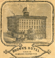 Browns Hotel - Erie City , Pennsylvania 1855 Old Town Map Custom Print - Erie Co.