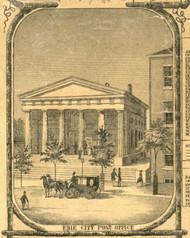 Erie City Post Office - Erie City , Pennsylvania 1855 Old Town Map Custom Print - Erie Co.