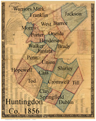 Towns on Source Map - Huntingdon Co., Pennsylvania 1856 - NOT FOR SALE - Huntingdon Co.