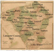 Towns on Source Map - Lancaster Co., Pennsylvania 1842 - NOT FOR SALE - Lancaster Co.