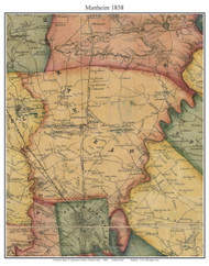 Manheim Township, Pennsylvania 1858 Old Town Map Custom Print - Lancaster Co.