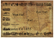 Towns on Source Map - Three Earls - Lancaster Co., Pennsylvania 1855 - NOT FOR SALE - Lancaster Co.