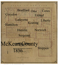 Towns on Source Map - McKean Co., Pennsylvania 1856 - NOT FOR SALE - McKean Co.