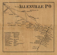 Allenville - Mifflin Co., Pennsylvania 1863 Old Town Map Custom Print - Mifflin Co.