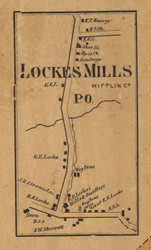 Lockes Mills - Mifflin Co., Pennsylvania 1863 Old Town Map Custom Print - Mifflin Co.