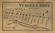 Yeagerstown - Mifflin Co., Pennsylvania 1863 Old Town Map Custom Print - Mifflin Co.